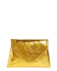 Dries Van Noten Metallic Leather Envelope Clutch