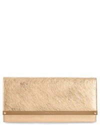 Jimmy Choo Milla Etched Metallic Spazzolato Leather Flap Clutch