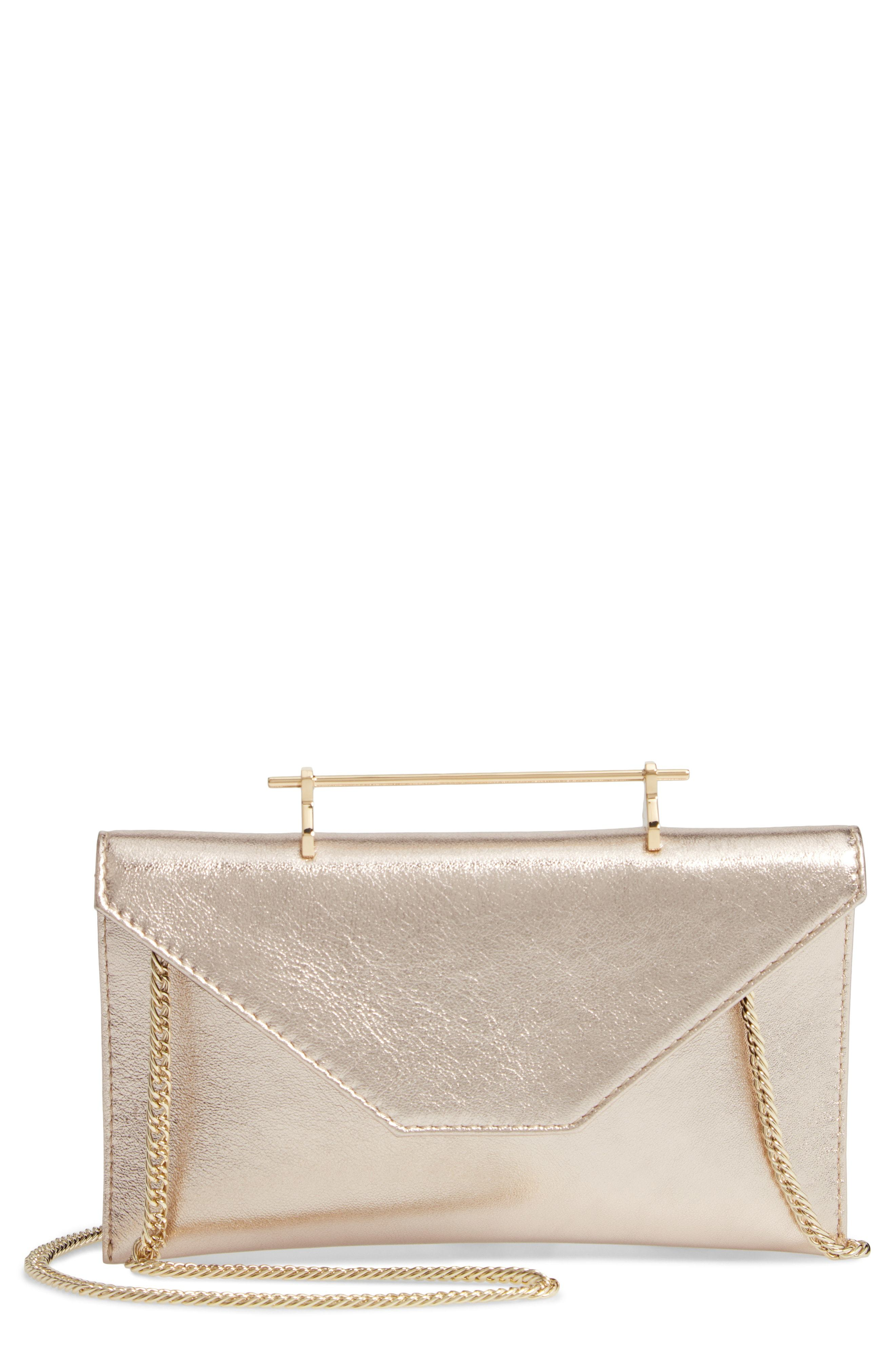 M2MALLETIE R Annabelle Metallic Calfskin Leather Clutch