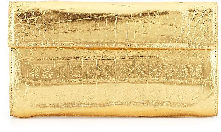 Gold Leather Clutches Nancy Gonzalez Small Double Flap Clutch Bag