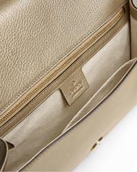 24385566d45 ... Gucci Soho Metallic Leather Clutch Bag Gold ...