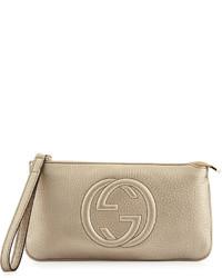 973a45b7684 ... Gucci Soho Metallic Leather Wristlet Bag Gold