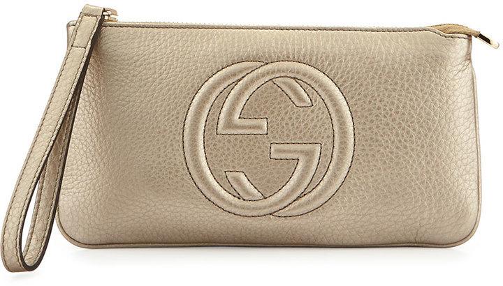 ce62c47d $470, Gucci Soho Metallic Leather Wristlet Bag Gold
