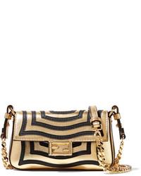 Fendi Baguette Micro Appliqud Metallic Textured Leather Shoulder Bag Gold
