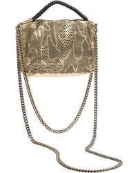 Nada Sawaya Bibi Mini Laser Cut Leather Crossbody Gold