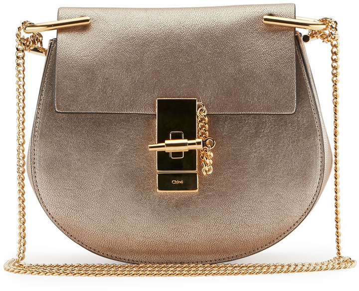 eb25828baf $1,790, Chloé Chloe Drew Mini Metallic Leather Crossbody Bag Gold