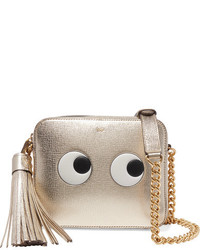 Anya Hindmarch Eyes Metallic Embossed Textured Leather Shoulder Bag Gold