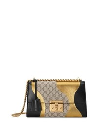 Gucci Medium Padlock Gg Supreme Canvas Leather Shoulder Bag