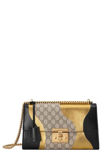 e2f0f3a4b297 ... Gucci Medium Padlock Gg Supreme Canvas Leather Shoulder Bag