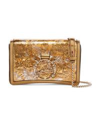 Christian Louboutin Rubylou Metallic Leather And Foil Shoulder Bag