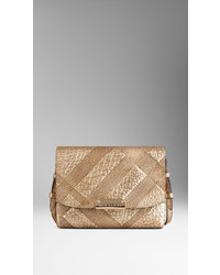 Burberry Small Embossed Check Leather Crossbody Bag