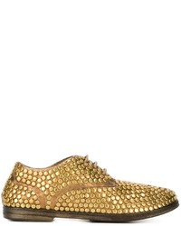 Gold Leather Derby Shoes