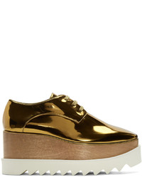 Stella McCartney Gold Platform Elyse Derbys