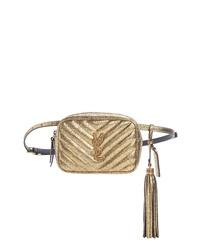 Saint Laurent Lou Lou Metallic Leather Belt Bag With Tassel