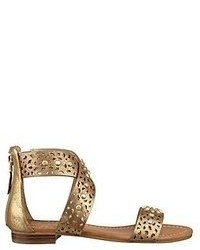 Gold Leather Flat Sandals