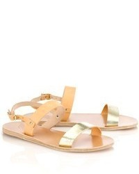 Ancient Greek Sandals Gold Leather Clio Sandals