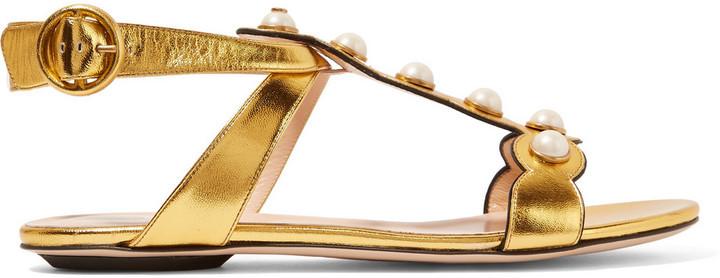 0c65dfe0b918 ... Gucci Embellished Metallic Leather Sandals Gold ...