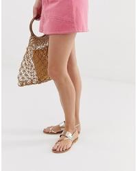 ASOS DESIGN Flisse Leather Flat Sandals