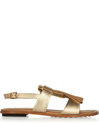 Tod's Fringed Metallic Leather Sandals