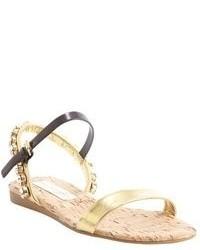 Stella McCartney Gold And Oak Leather Jewel Studded Flat Sandals