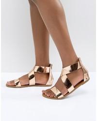 Glamorous Gold Flat Sandals