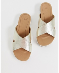 6125e25f914 Women's Gold Leather Flat Sandals by UGG   Women's Fashion ...