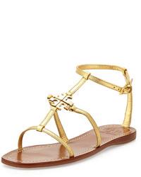 Tory Burch Lowell Flat Logo Sandal Gold