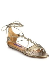 Ralph Lauren Mabelle Metallic Leather Flat Ankle Tie Sandals
