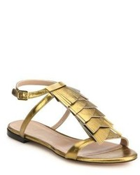 Chloé Metallic Leather Fringed Flat Sandals