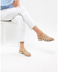 Stradivarius Metallic Tubular Flat Sandals