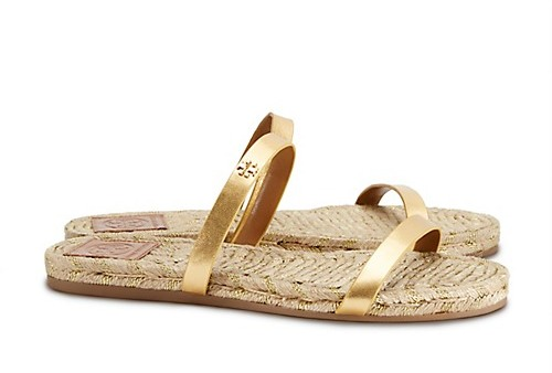 5cd43711ea6 ... Sandals Tory Burch Metallic Two Band Espadrille Flats Slide