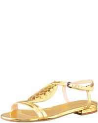 Bottega Veneta Metallic Woven Leather Flat Sandal Gold
