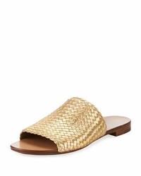 Michael Kors Michl Kors Byrne Metallic Woven Flat Slide Sandal Gold
