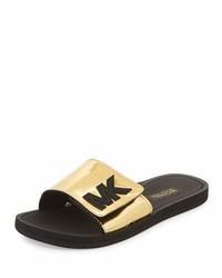079a07f17b9 ... MICHAEL Michael Kors Michl Michl Kors Mk Metallic Slide Sandal Gold