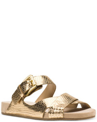 6ddd4dd0438 ... MICHAEL Michael Kors Michl Michl Kors Sawyer Metallic Strappy Slide  Sandals