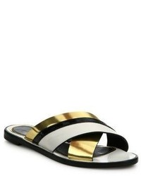 Lanvin Mirror Leather Crisscross Slides