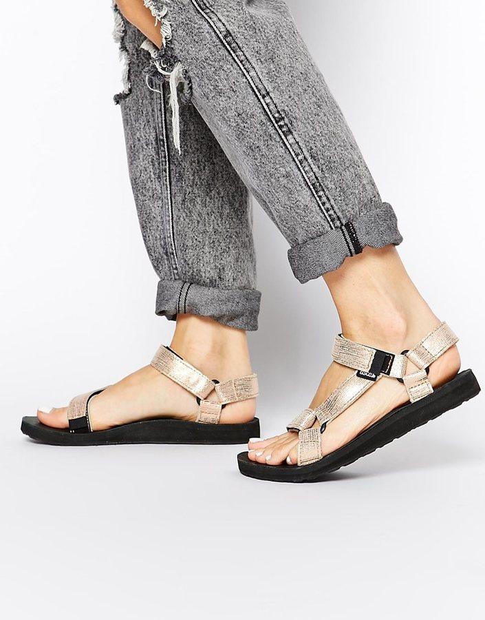 ... Teva Original Universal Rose Gold Metallic Flat Sandals