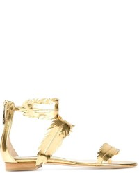 Oscar de la Renta Feather Flat Sandals