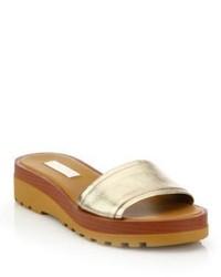 See by Chloe Robin Metallic Leather Demi Wedge Slide Sandals