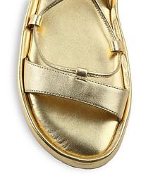 b86fbd6e86baa ... Diane von Furstenberg Susie Lace Up Flat Metallic Leather Sandals ...
