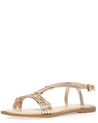 Dorothy Perkins Wide Fit Gold Waxy Sandals