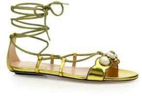 91384fb47 ... Gold Leather Flat Sandals Gucci Willow Embellished Metallic Leather  Lace Up Gladiator Sandals ...