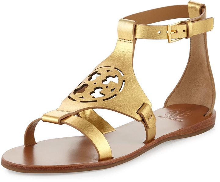 f611948b3 ... Tory Burch Zoey Leather Logo Flat Sandal Gold ...