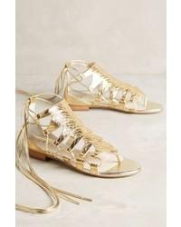 Anthropologie Billy Ella Embossed Metallic Gladiators Gold 8 Sandals