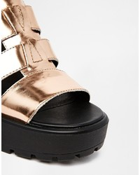 e8315f12ab4 ... Vagabond Dioon Metallic Rose Gold Gladiator Heeled Sandals ...