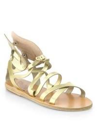 Ancient Greek Sandals Nephele Angel Metallic Leather Wing Gladiator Sandals