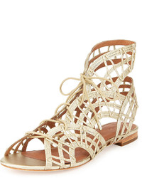 Joie Renee Lace Up Gladiator Sandal White Gold