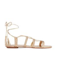 Aquazzura Stromboli Braided Metallic Leather Sandals