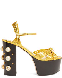 Gucci Allie Embellished Heel Platform Sandals