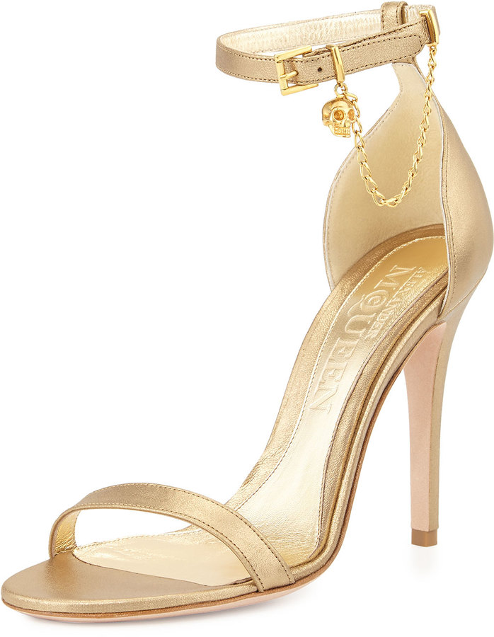 21b3065d9 ... Alexander McQueen Ankle Wrap High Heel Sandal With Skull Charm Gold ...